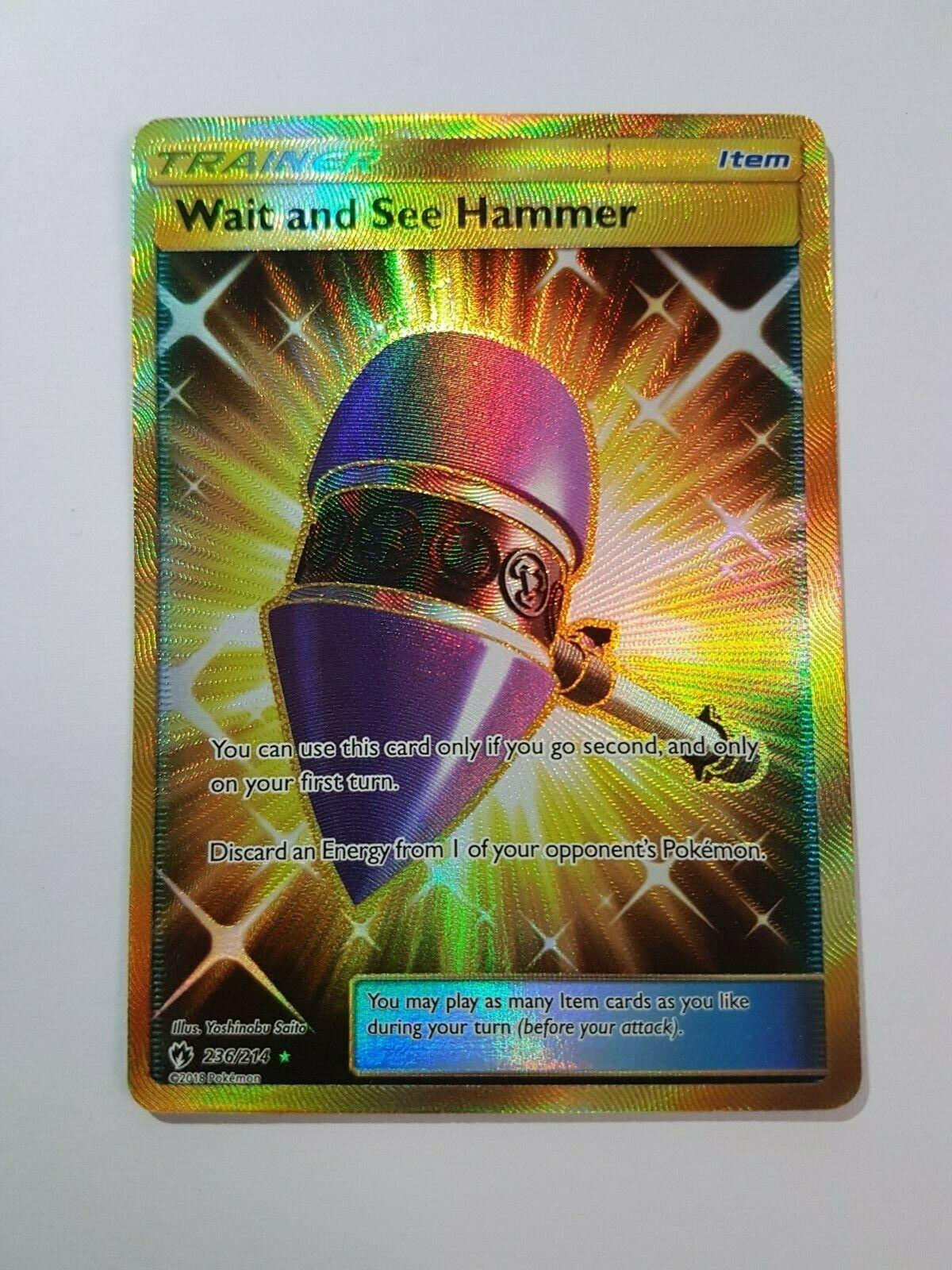 FULL ART 236//214 Pokemon NM//MT Wait And See Hammer SECRET RARE GX Lost Thunder