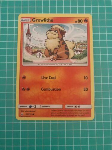 Pokemon GROWLITHE 21//214 UNCOMMON REVERSE HOLOFOIL NM CARD  UNBROKEN BONDS