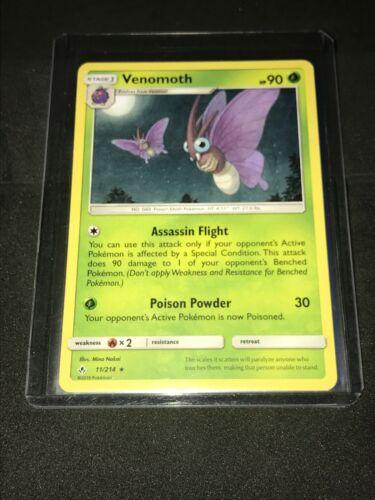 Brand New Venomoth 11/214  Sun & Moon: Unbroken Bonds Rare Non-Holo Pokemon Card