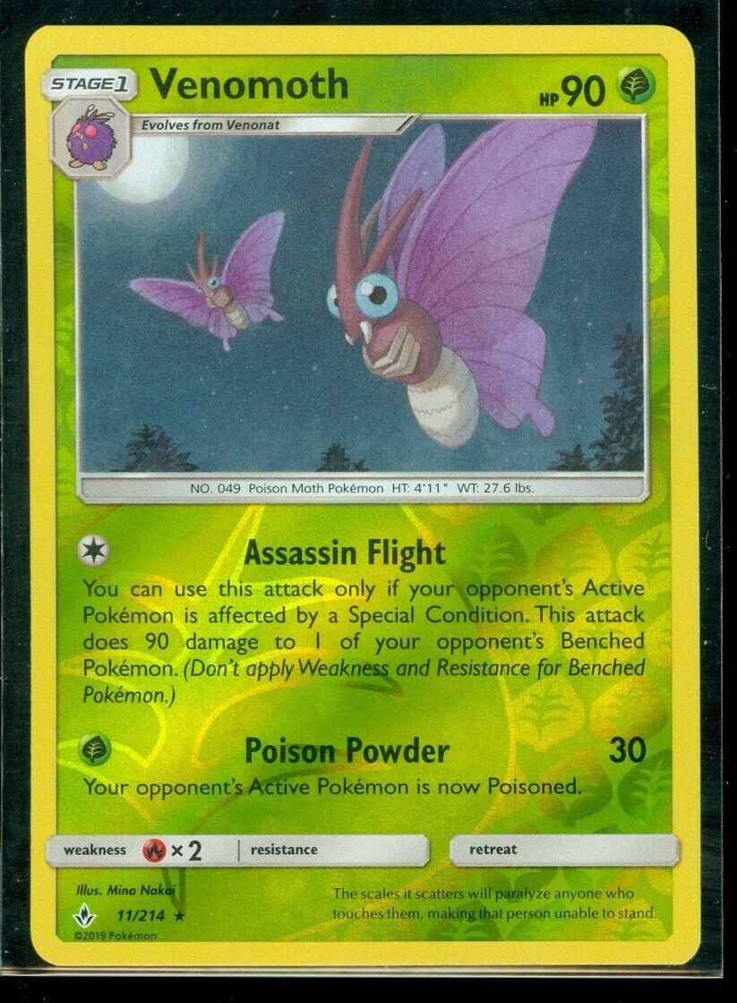 Pokemon VENOMOTH 11/214 Unbroken Bonds RARE Rev Holo - MINT