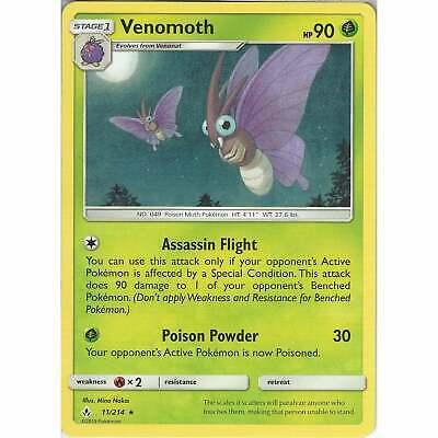 Venomoth - 11/214 - Rare Card - Pokemon TCG Sun & Moon Unbroken Bonds Cards