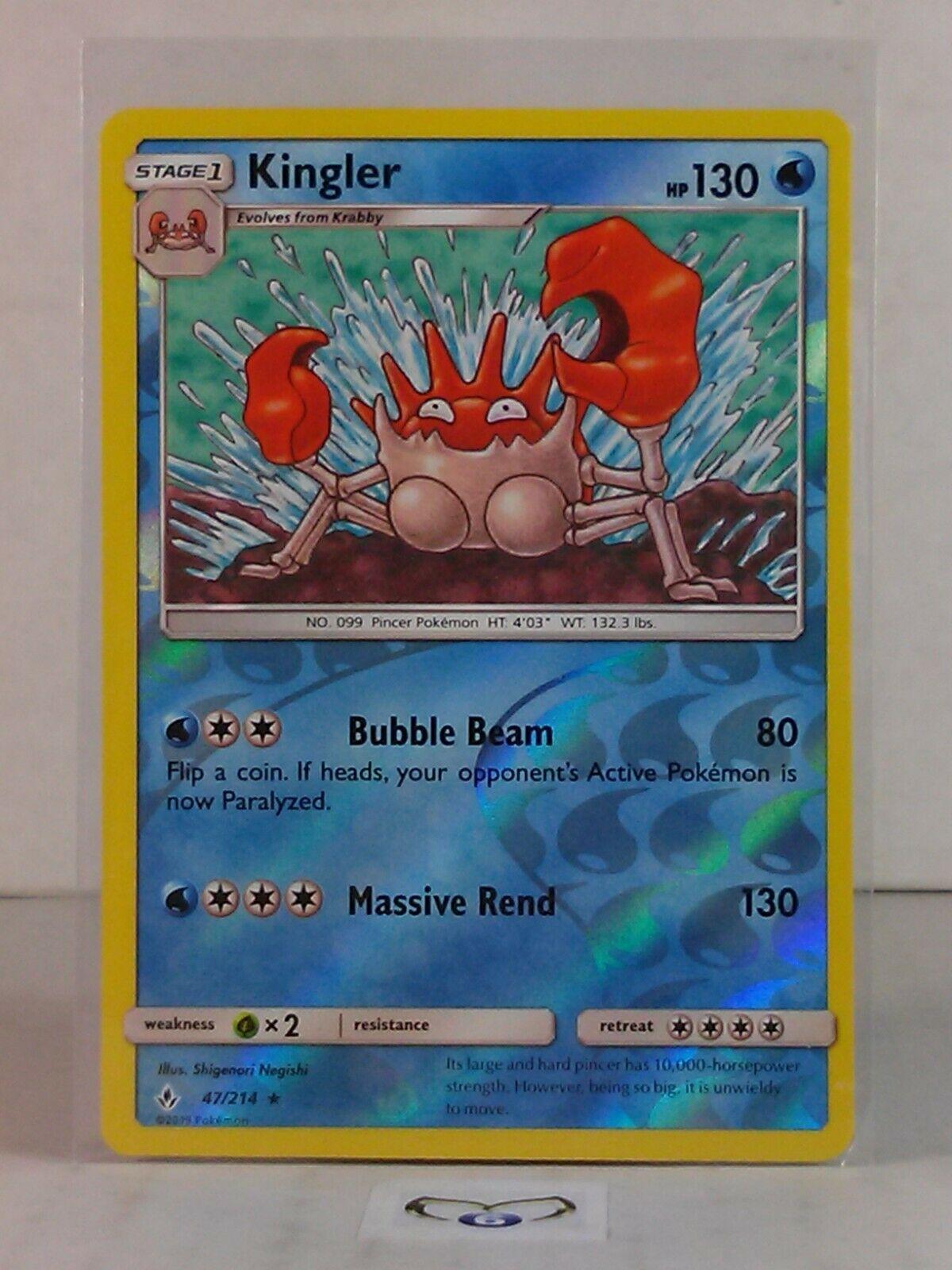 Kingler  47/214  Sun & Moon: Unbroken Bonds  Reverse Holo  Mint/NM  Pokemon