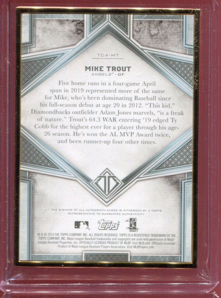 2019 Topps Transcendent Mike Trout Green Metal Frame On Card Auto 08/15 - Image 2