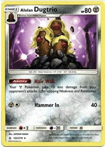 Pokemon TCG Alolan Dugtrio 122/214 Sun & Moon Unbroken Bonds RARE NM/M