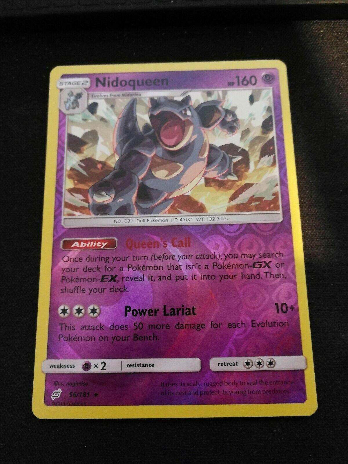 Pokemon Nidoqueen 56/181 Reverse Holo Rare Team Up Near Mint