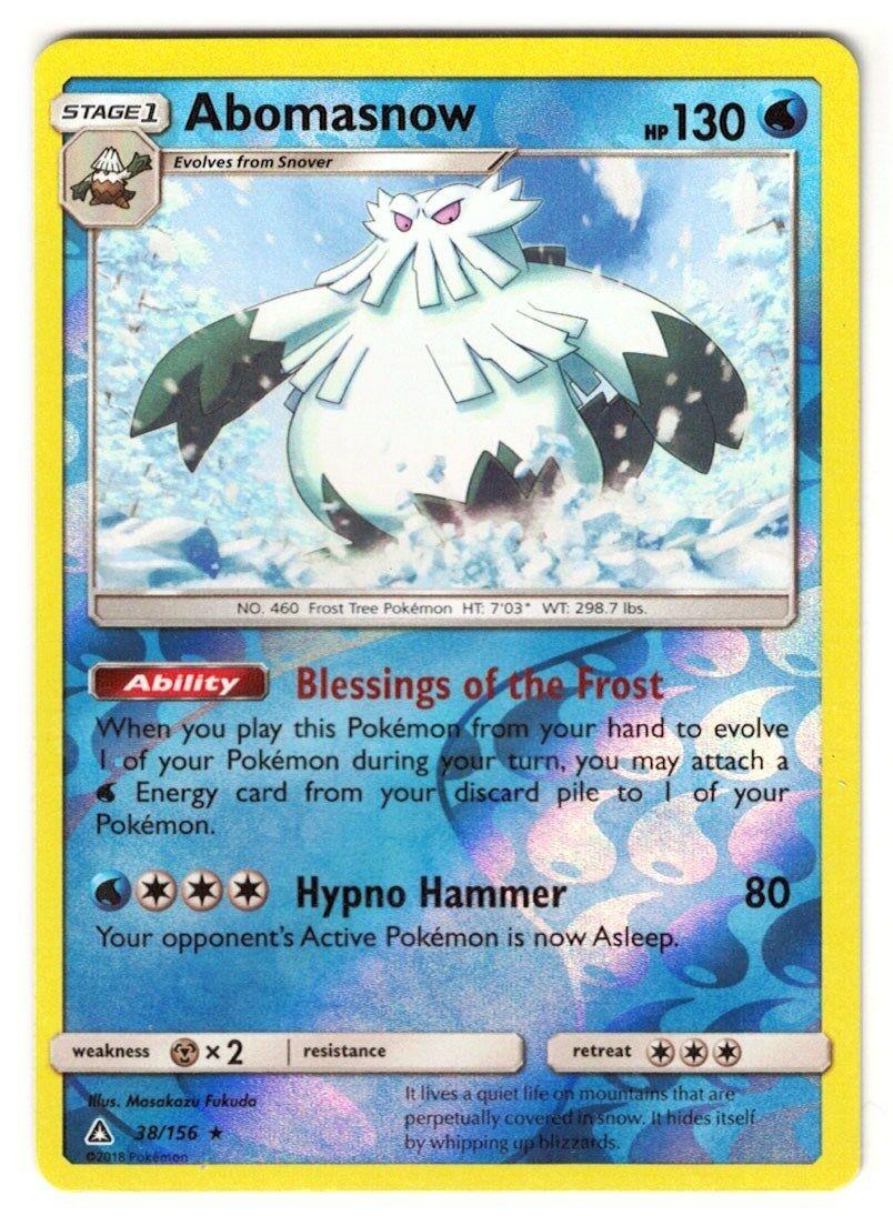 Rare NM-M Reverse Holo Abomasnow 38//156 Pokemon TCG SM Ultra Prism
