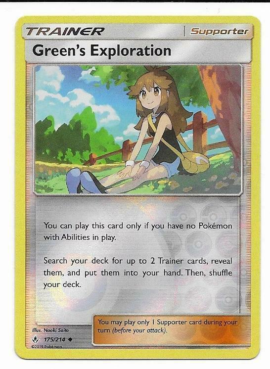 4x Green/'s Exploration 175//214 Unbroken Bonds Pokemon TCG Online Digital