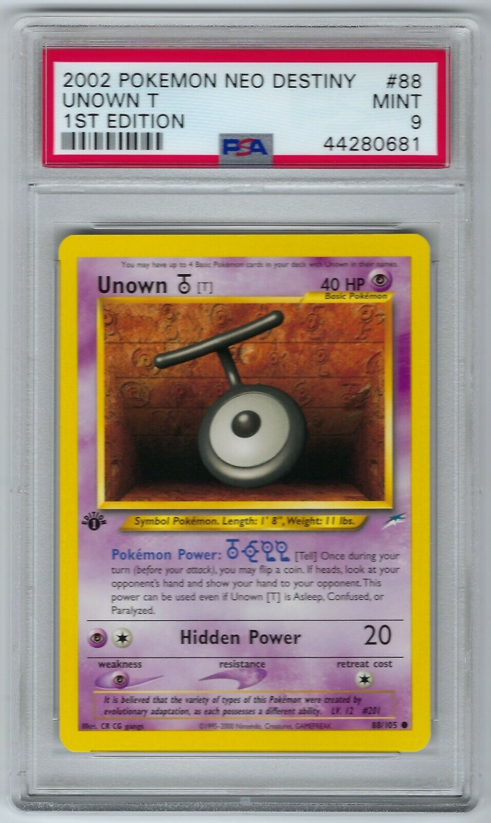 UNOWN T 88//105 Neo Destiny ⎜1st Edition⎜ Common Pokemon Mint Buy 4 Save 35/%!