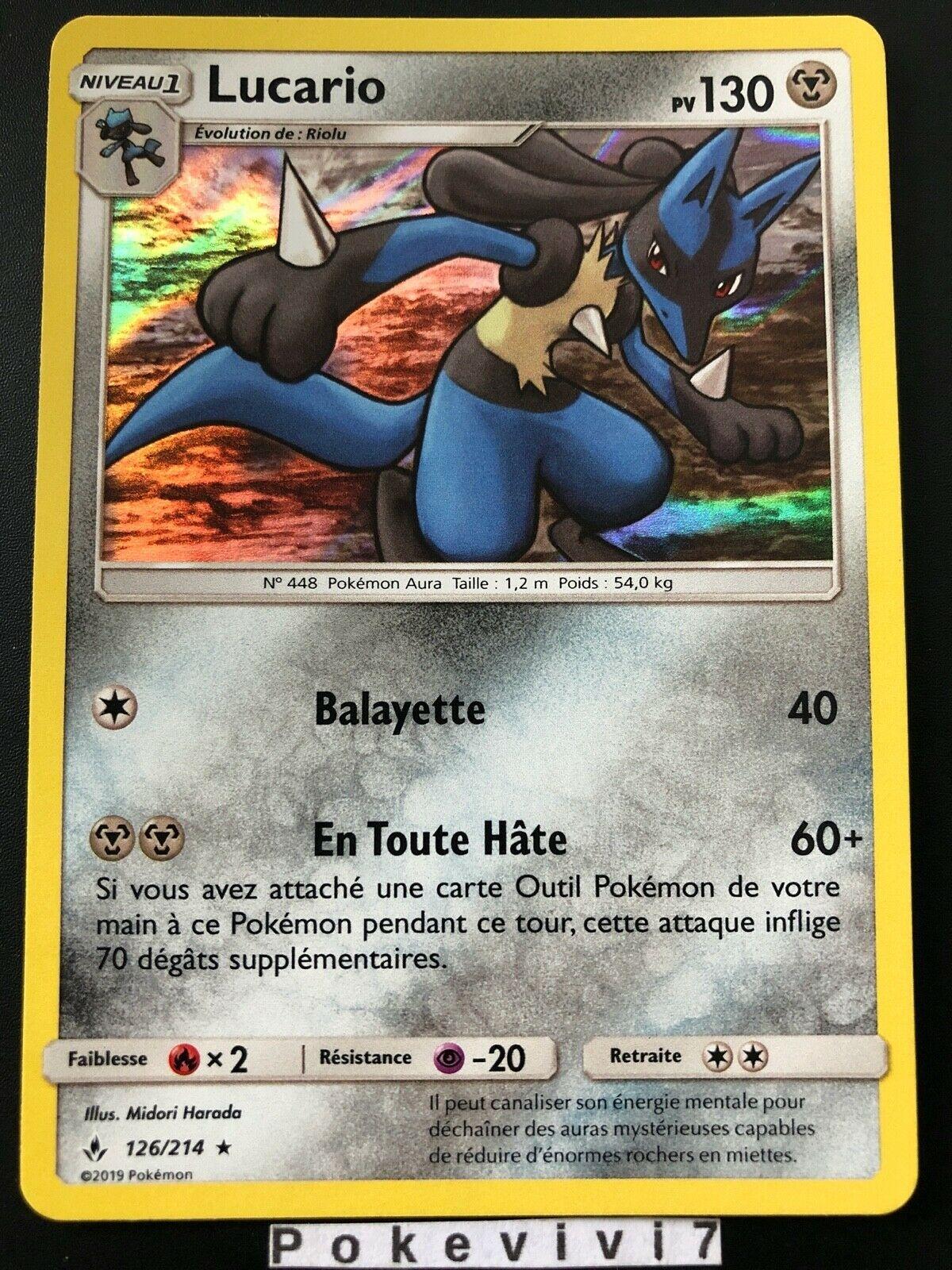 Carte Pokemon LUCARIO 126/214 Holo Soleil et Lune 10 SL10 FR NEUF