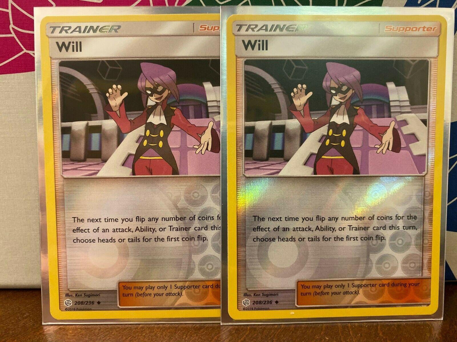 4x U SM12-208 Will Pokemon Cosmic Eclipse Card # 208