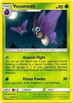 Pokemon Venomoth - 11/214 - Rare NM-Mint Unbroken Bonds