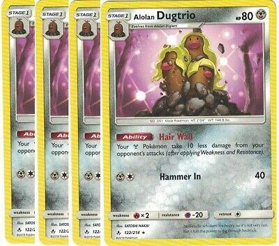 4x Alolan Dugtrio122/214-REVERSE HOLO- Unbroken Bonds