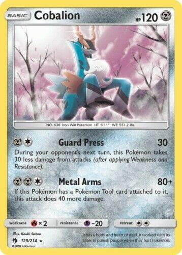 Reverse Holo NM-Mint Pokemon SM10 4x Cobalion 129//214 Lost Thunder