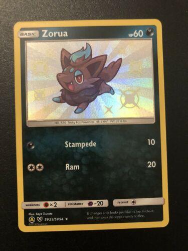 Pokemon Sun /& Moon Hidden Fates Shiny ZORUA SV25//SV94 Ultra Rare Holo NM//M