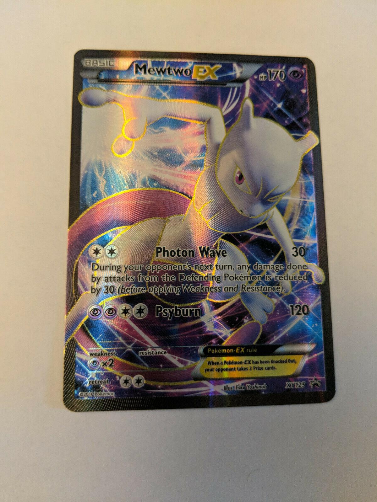 Pokemon Mewtwo EX XY125 Promo Played Holo Ultra Rare Full Art XY Generations