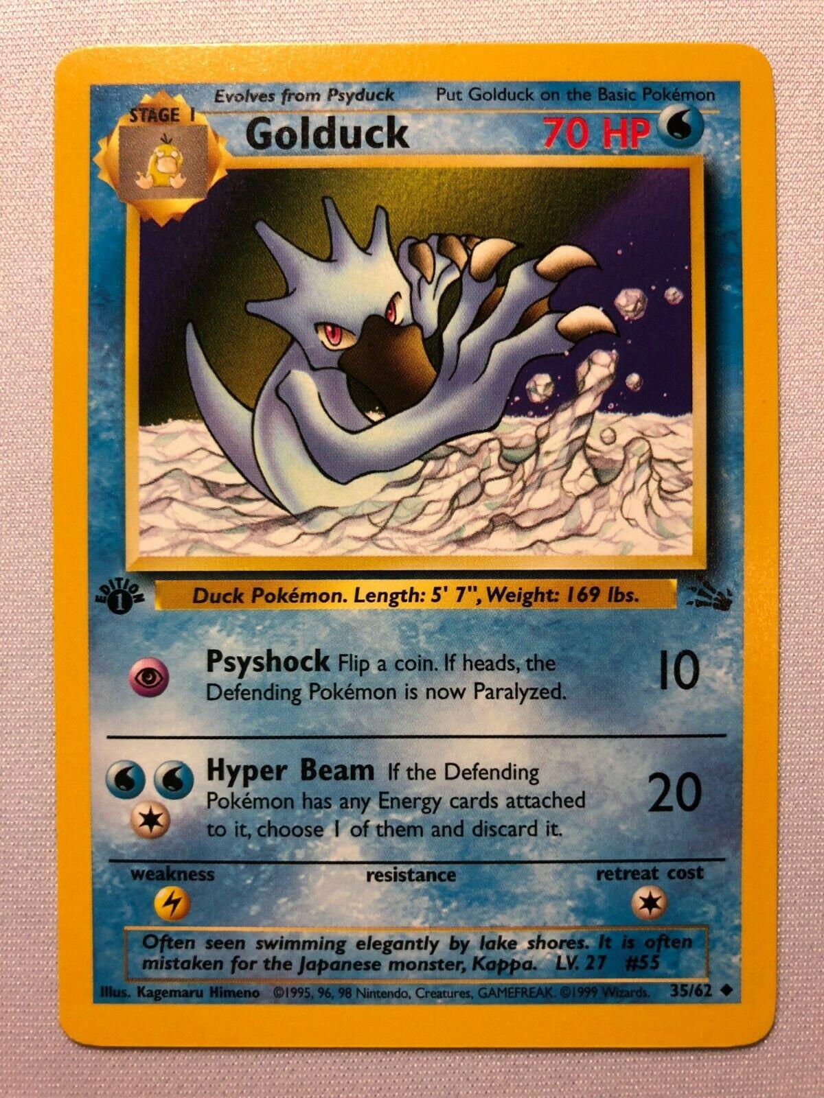 Golduck 35//62 1ST EDITION Fossil Set NEAR MINT Pokemon Card