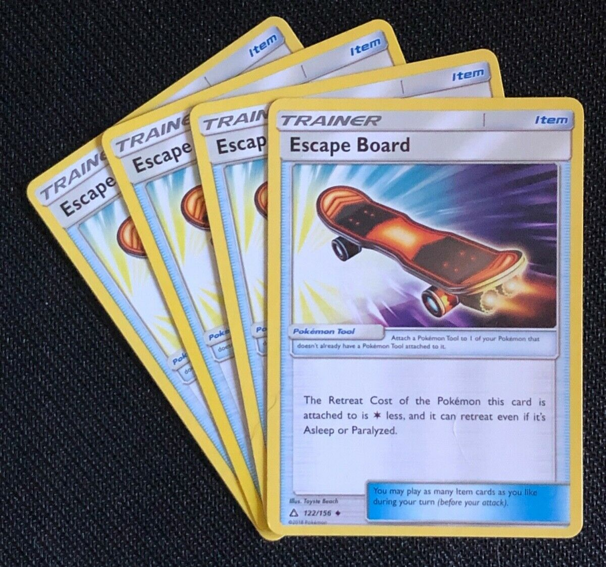 4x Escape Board 122//156 Uncommon//Common A PLAYSET Pokemon Ultra Prism