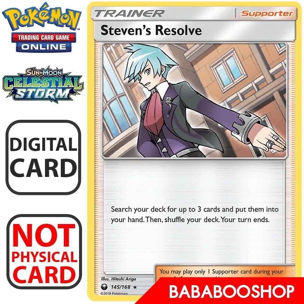 Steven/'s Resolve 145//168 SM Celestial Storm REVERSE HOLO Pokemon Card NEAR MINT