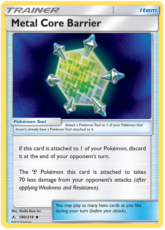 Pokemon 4X Metal Core Barrier 180//214 S/&M Unbroken Bonds Uncommon PERFECT MINT