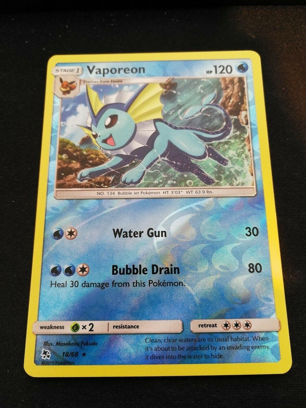 1x Vaporeon SM Hidden Fates NM//MINT Holo Rare Pokemon Card 18//68