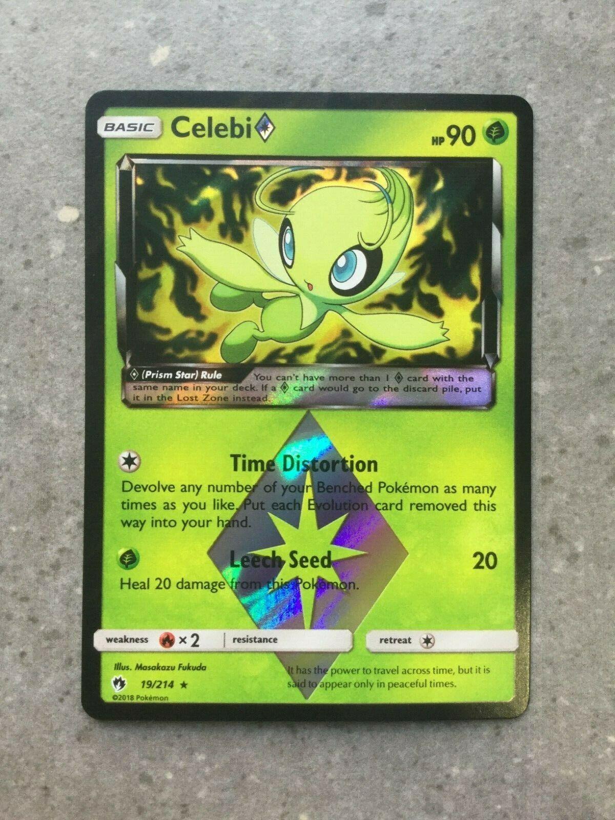 Pokemon Sun/&Moon Lost Thunder Celebi Prism Star NM Condition Un-played