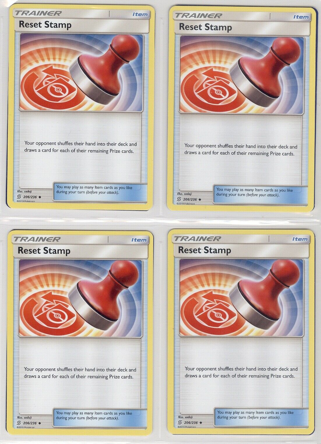 Reset Stamp Uncommon SM Unified Minds Pokemon TCG Mint//NM 206//236