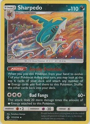 Pokemon TCG SM Unbroken Bonds 111/214 Sharpedo Reverse Holo Rare Card