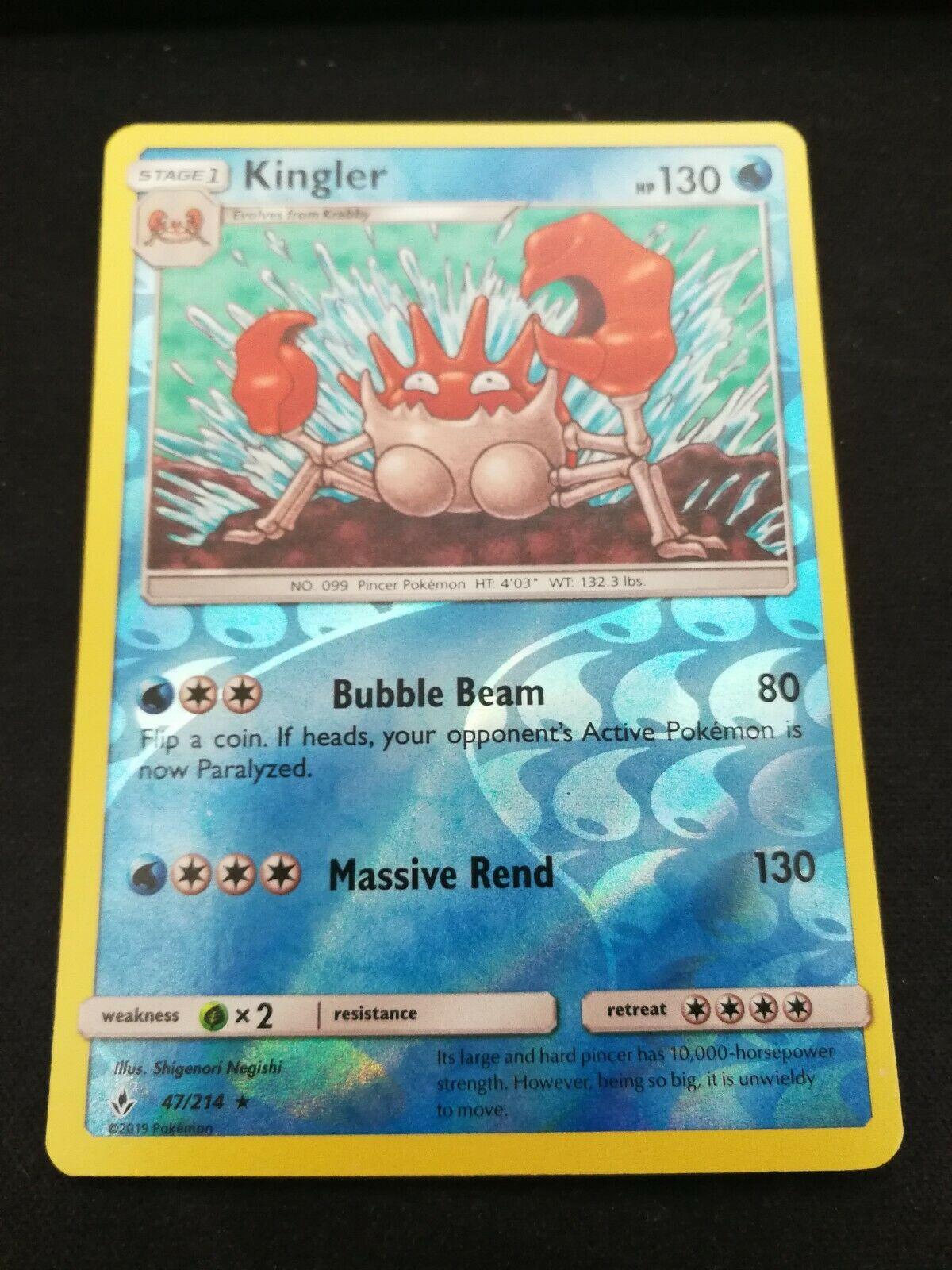 Pokemon Kingler 47/214 Reverse Holo Rare Unbroken Bonds Near Mint