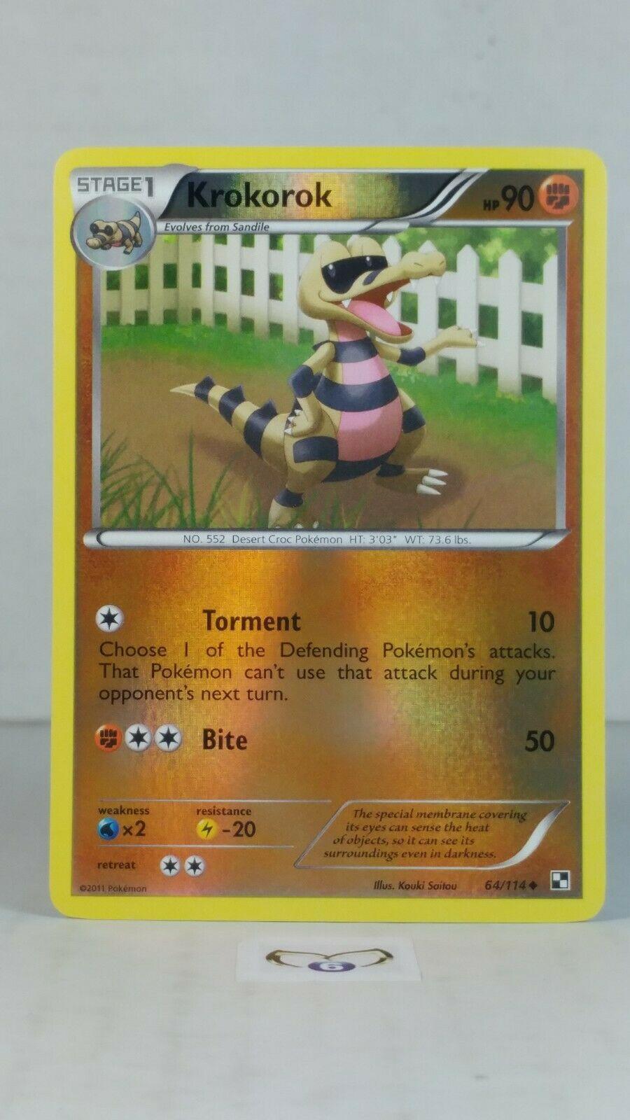 Krokorok CRIMPED Error League Promo Pokemon Card Black /& White 64//114 Near Mint