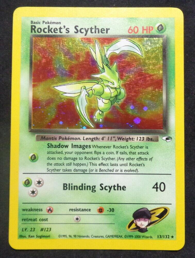 13//132 Gym Heroes Pokemon Card EXC//NEAR MINT Rocket/'s Scyther