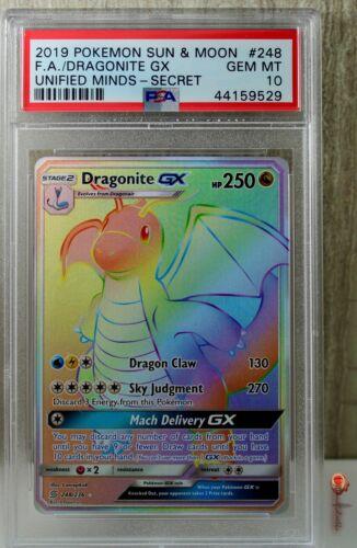 Pokemon Dragonite GX Unified Minds 248//236 Ultra Rare Secret Rainbow Hyper