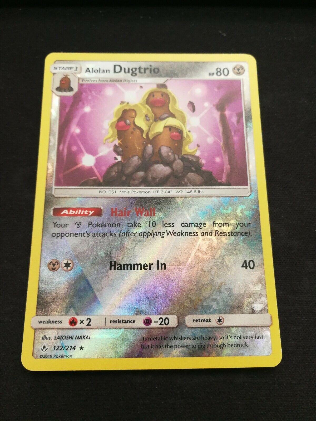 Pokemon Alolan Dugtrio 122/214 Reverse Holo Rare Unbroken Bonds Near Mint