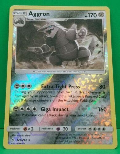 Aggron 125/214 Reverse Holo Rare Pokemon SM Unbroken Bonds