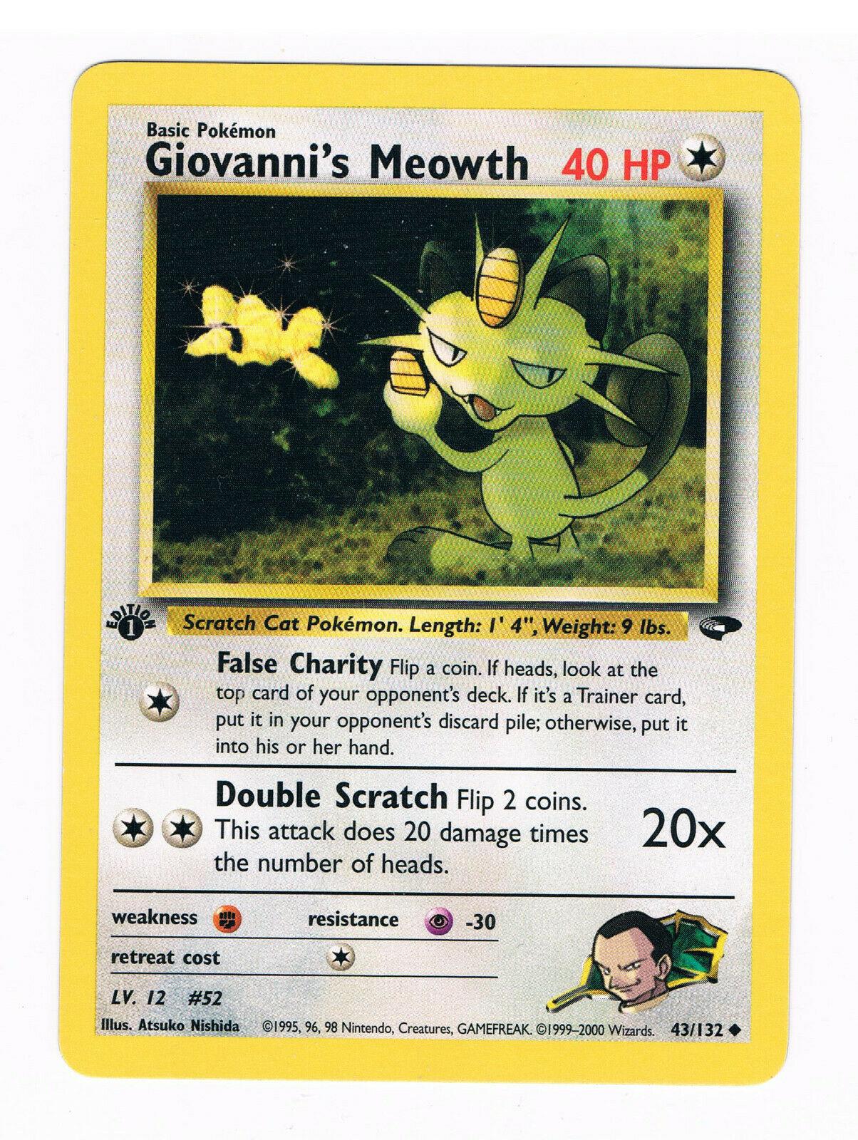 Carte Pokemon GIOVANNI/'S MEOWTH 43//132 Unco Gym Challenge Wizard EDITION 1 NEUF