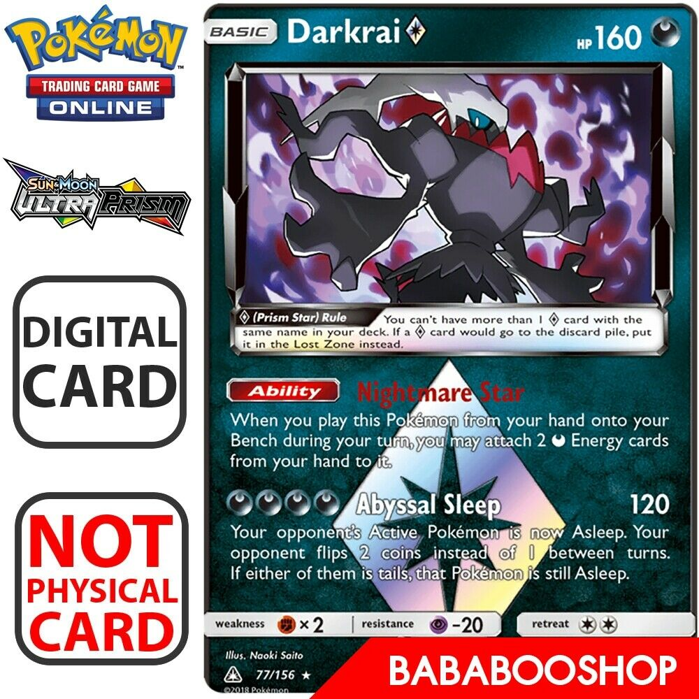 Darkrai Prism Star DIGITAL ptcgo in Game Card for Pokemon TCG Online