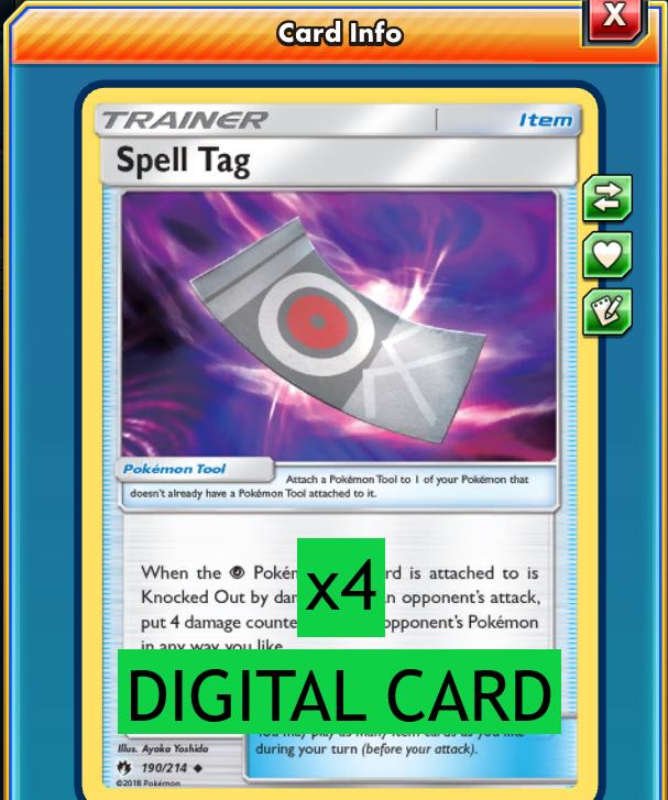 4X Spell Tag 190//214 Pokemon Online Card TCG PTCGO Digital Card