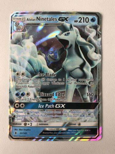NM Pokemon ALOLAN NINETALES GX Card GUARDIANS RISING Set 22//145 SM Ultra Rare