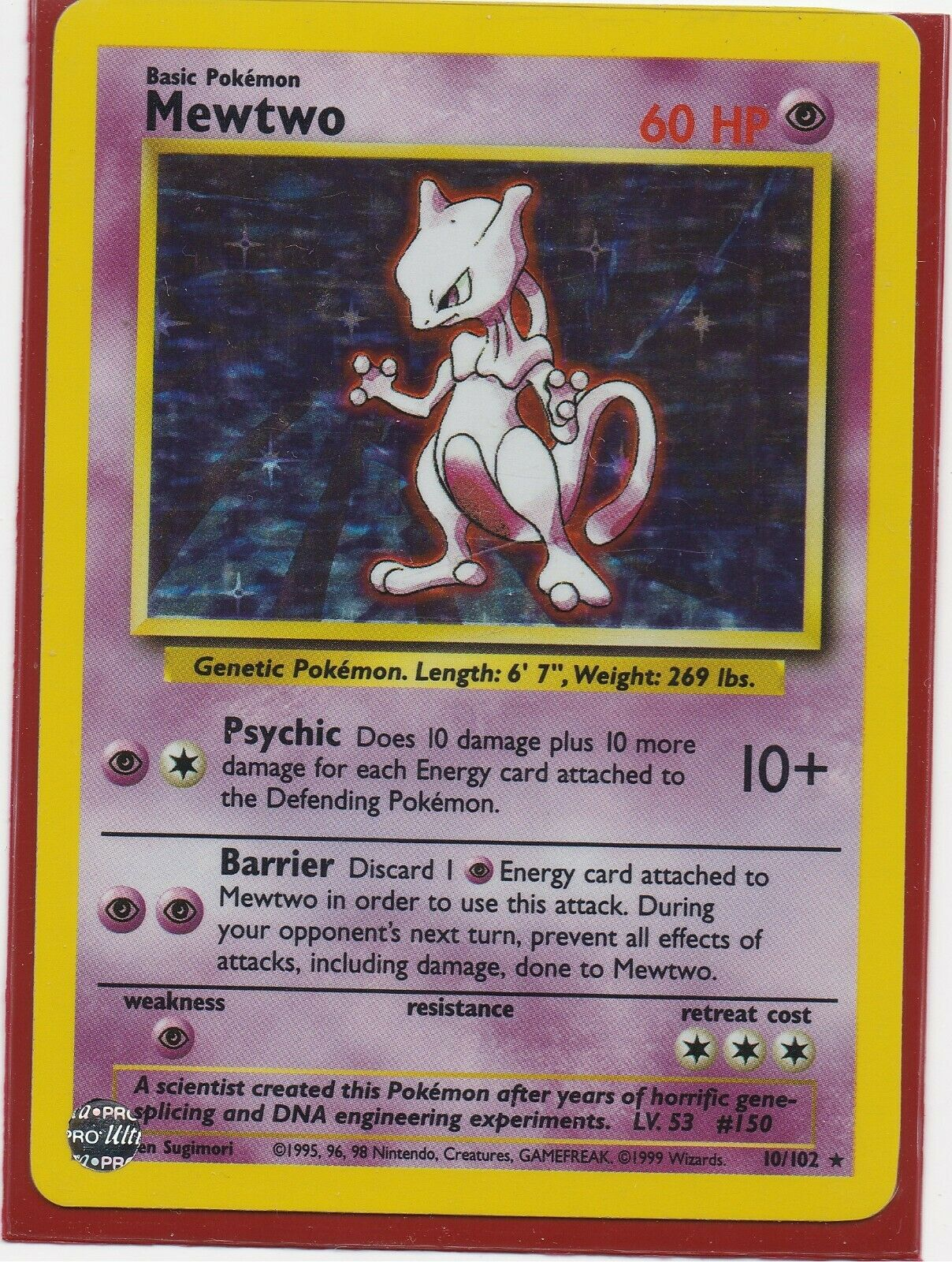 LP-MP 10//102 Base Set Mewtwo Holo-Foil Rare Collectible Pokemon Card