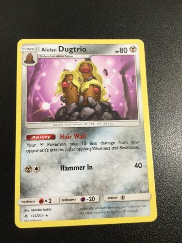 Alolan Dugtrio 122/214 Rare Pokemon Sun and Moon Unbroken Bonds