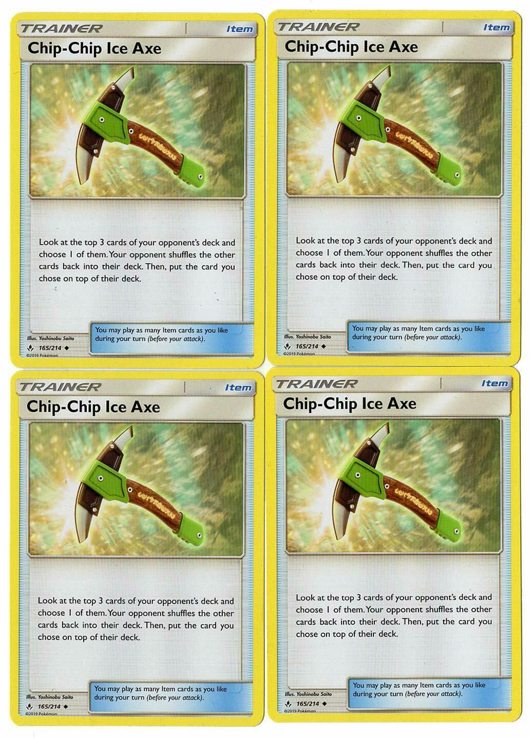 Pokemon Unbroken Bonds 4x Chip-Chip Ice Axe 165//214 TRAINER