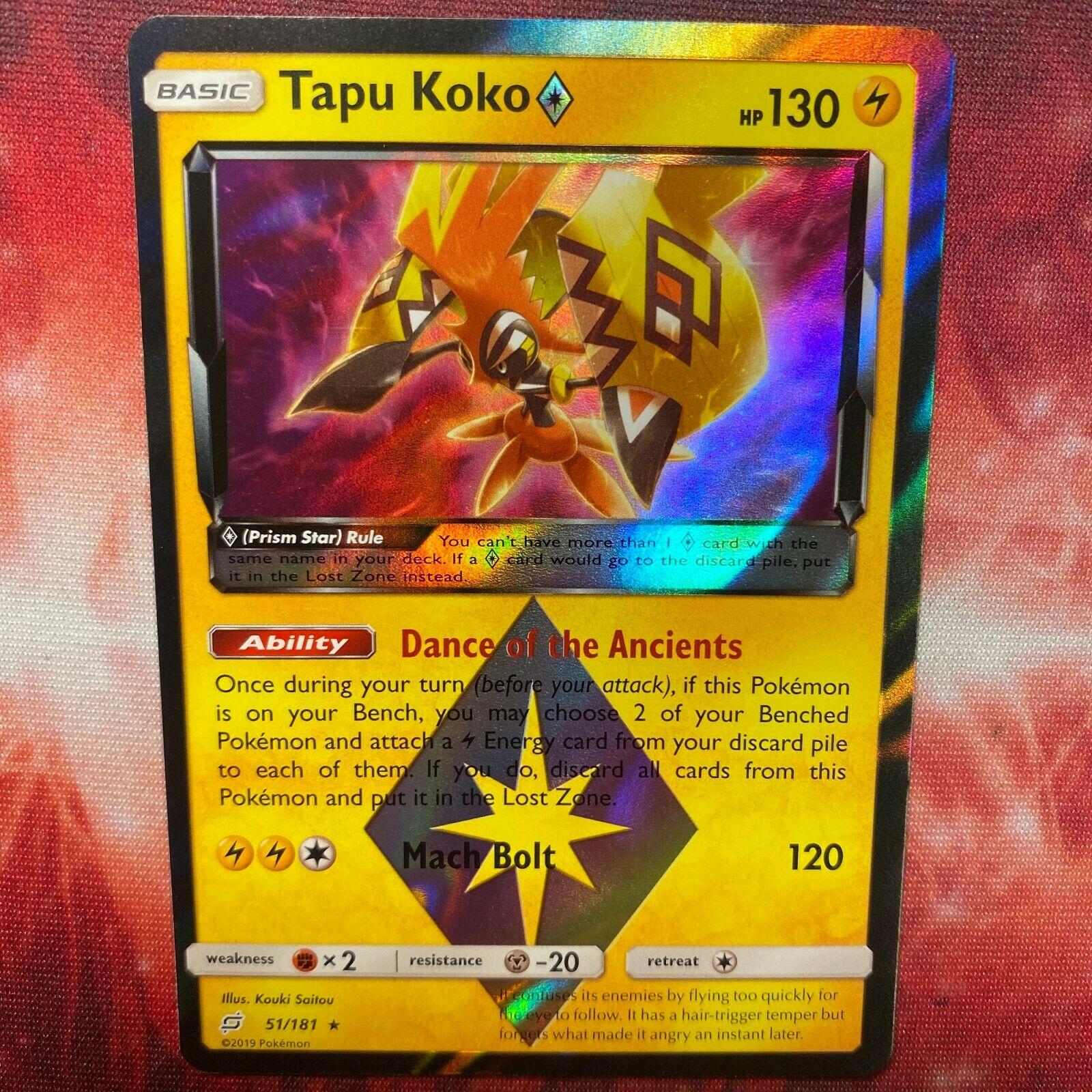 x1 Tapu Koko Prism Star 51//181 Holo Rare Pokemon SM9 Team Up M//NM