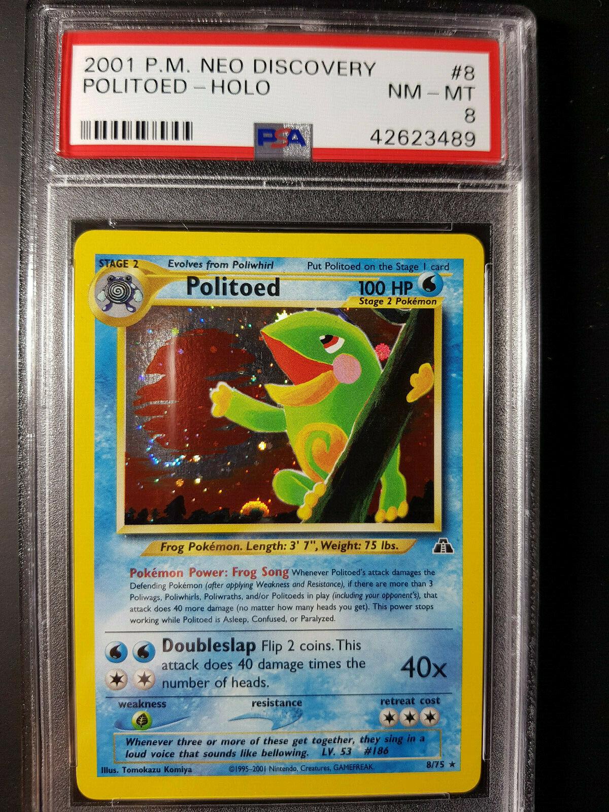 Politoed 8//75 Neo Discovery Holographic Rare Pokemon Card Near Mint