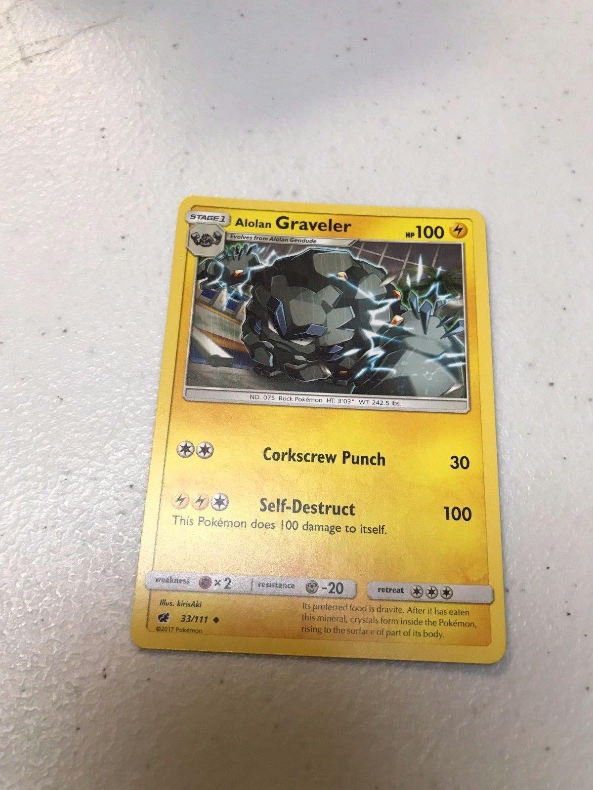 Pokemon Card Alolan Graveler 33//111 REGULAR UNCOMMON TCG NM LP