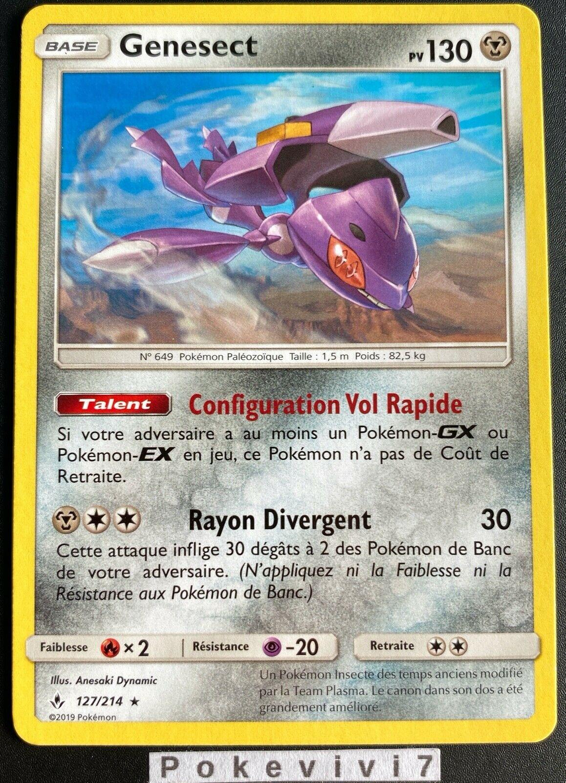 Carte Pokemon GENESECT 127/214 RARE Soleil et Lune 10 SL10 FR NEUF
