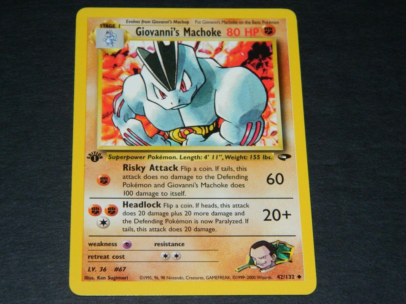 Carte Pokemon GIOVANNI/'S MACHOKE 42//132 Unco Gym Challenge EDITION 1 NEUF