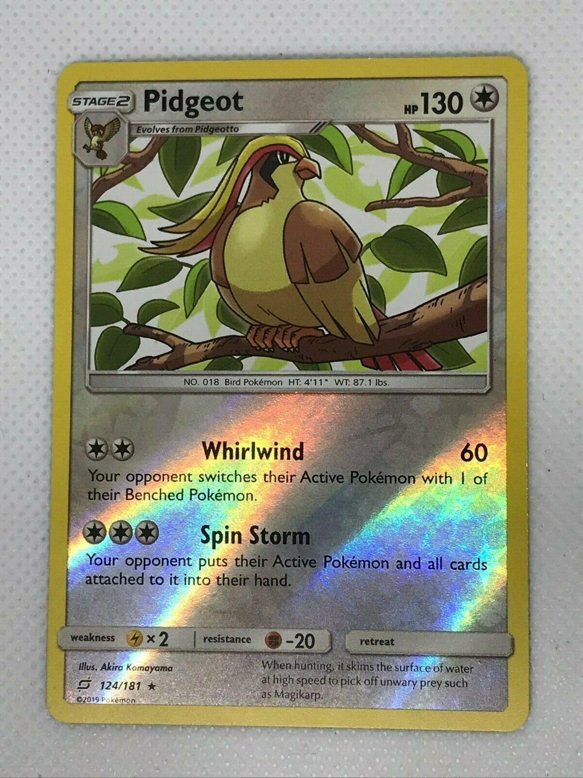 4x Pidgey Common 121//181 Reverse Holo NM-Mint Pokemon SM09 Team Up