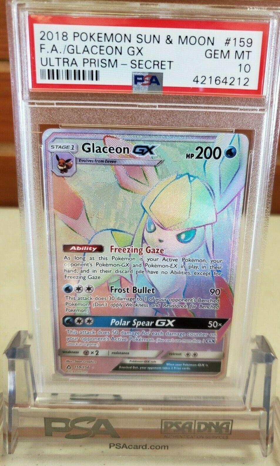 Glaceon GX 159//156 Ultra Prism Secret Rare Near Mint Pokemon Card Rainbow