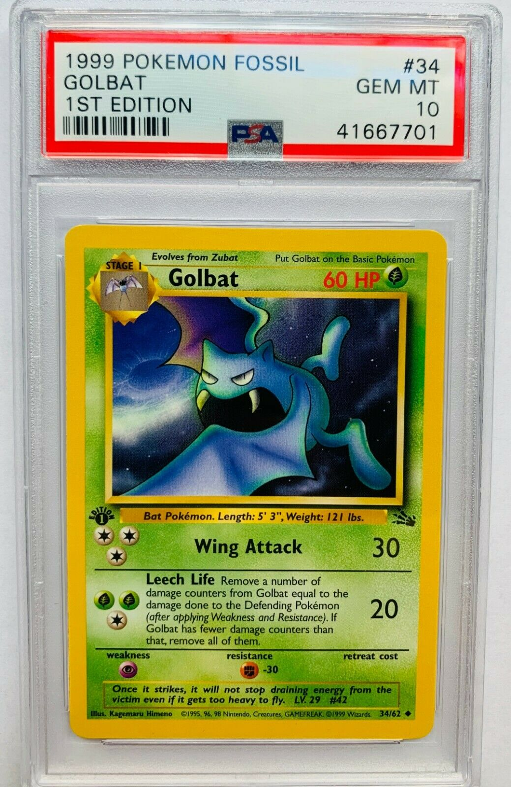 1st Edition Fossil Set 34//62 NM//Mint Condition Golbat Pokemon Card