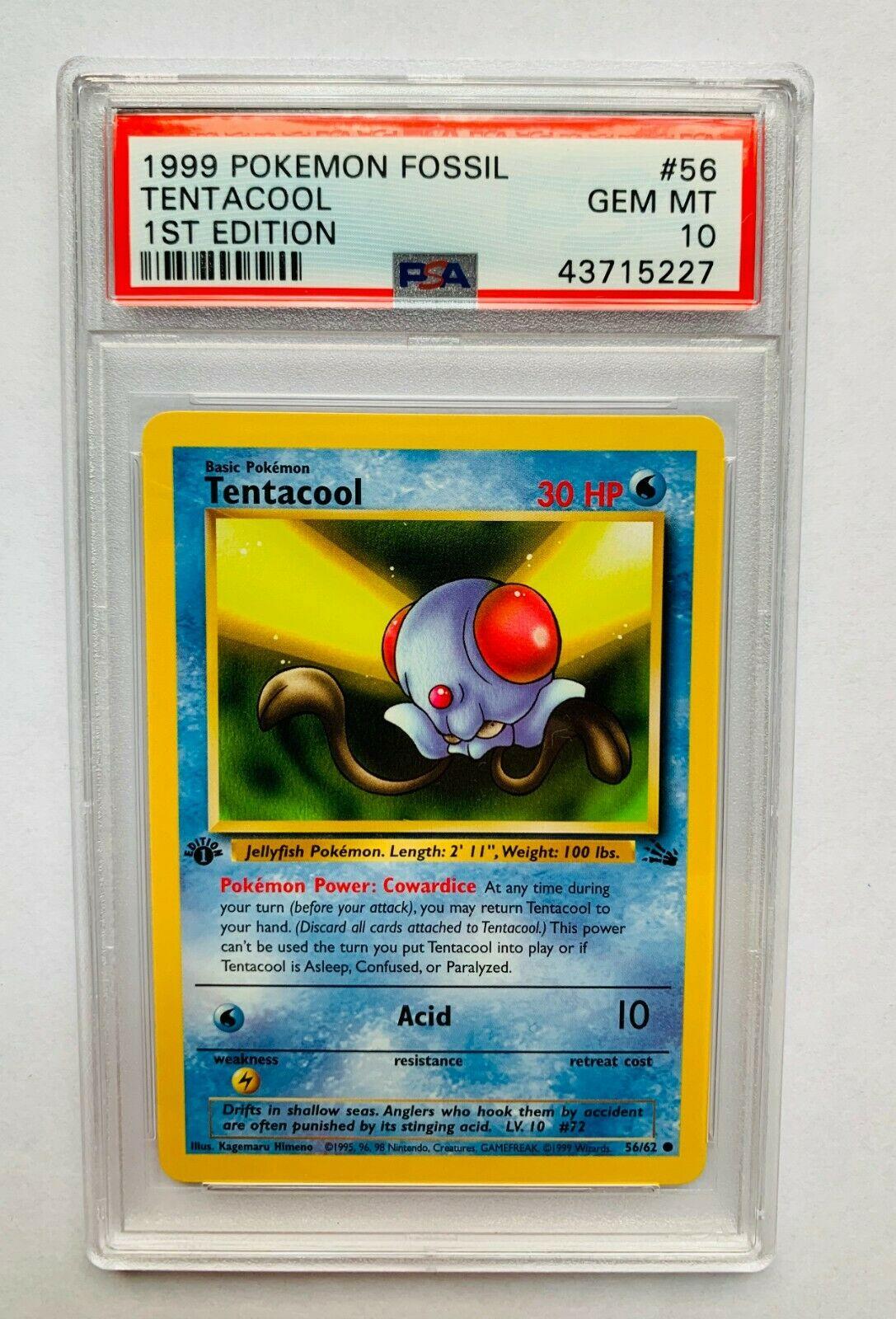 Tentacool 56//62 Fossil Pokemon Card LP Cond #