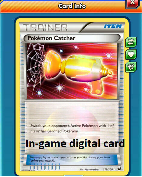 Pokemon NM-M Pokemon Catcher 111//108 BW Dark Explorers Secret Rare Gold Card